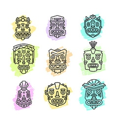 Set of ethnic tribal colorful masks isola vector