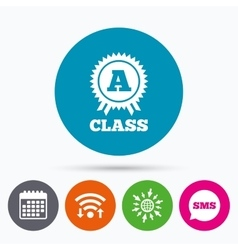 A-class award sign icon premium level symbol vector