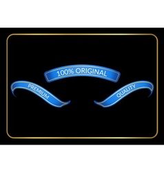 Ribbon banners set original blue black vector