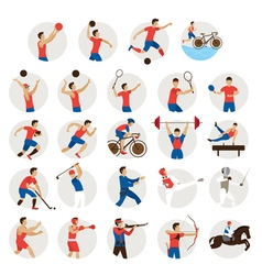 Sports athletes men icons set vector