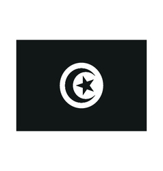 A flag of Tunisia monochrome on white background vector image vector image