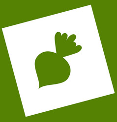 Beet simple sign white icon obtained as a vector