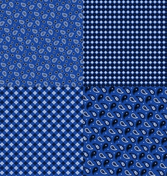 Blue bandana patterns vector