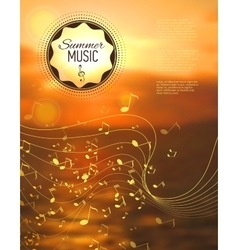 Blurred sunset background with music key and notes vector image vector image