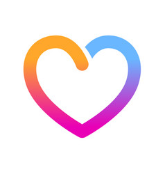 Bold opened line heart icon vector
