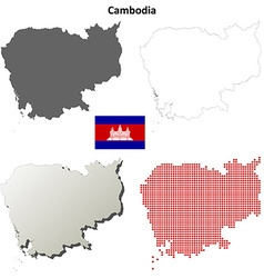 Cambodia outline map set vector