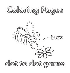 Cartoon bee coloring book vector