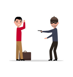 Cartoon robber with a gun robbing a man vector