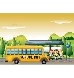 Children getting on school bus at bus stop vector