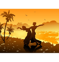 dancing on the beach vector image vector image