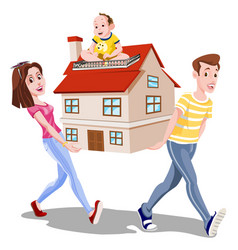 family carrying a house vector image