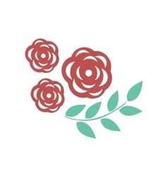 Flat icon on white background rose branch vector