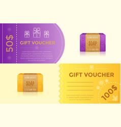 gift voucher template for handmade soap vector image
