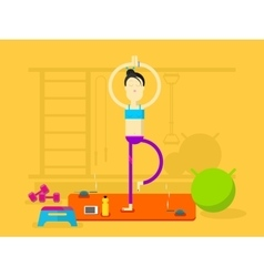 Girl is engaged in yoga vector image vector image