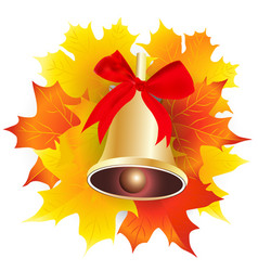 gold school bell with a red ribbon and maple vector image