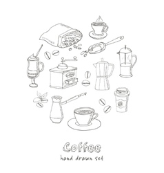 Hand drawn coffee set ingredients and vector image
