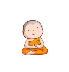 Happy little neophyte take meditate vector