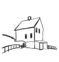 Landscape sketch hand drawn house vector