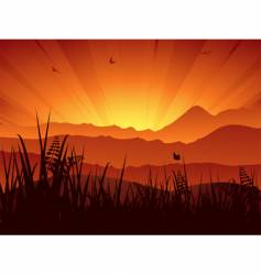 Landscape sunset vector