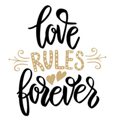 Love rules forever hand drawn lettering phrase on vector