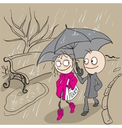 Loving couple walking park in rain Autumn weather vector image vector image