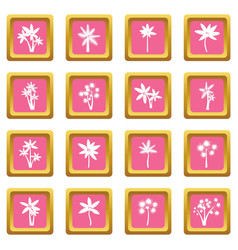 palm tree icons pink vector image vector image