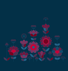 peasant style floral design elements vector image