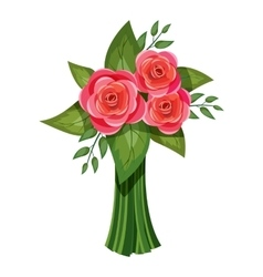 Pink roses bouquet icon isometric 3d style vector