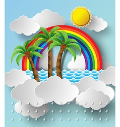 Rainbow and cloud poster vector