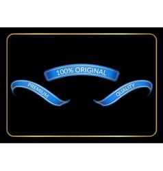 Ribbon banners set original blue black vector image