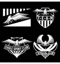 Sport team crests set with eagles design template vector