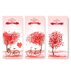 Three valentines day banners with pink trees and vector