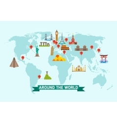 Travel landmarks on world map vector image vector image