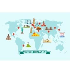 Travel landmarks on world map vector