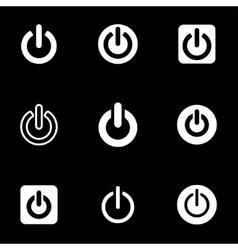White shut down icon set vector