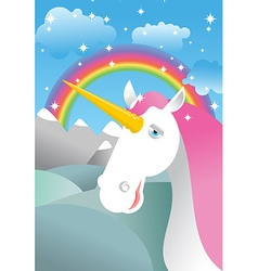 Unicorn on landscape rainbow fields and meadows vector