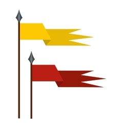 Gold and red medieval flags icon flat style vector image