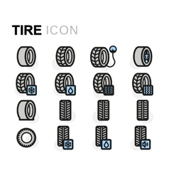 Flat tire icons set vector