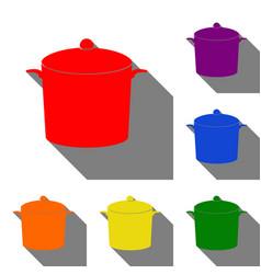 pan sign set of red orange yellow green blue vector image
