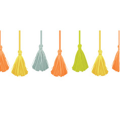 Long hanging decorative tassels set with vector