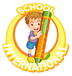 international school logo with boy and giant vector image
