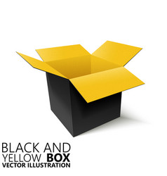 Black and yellow open box 3d vector