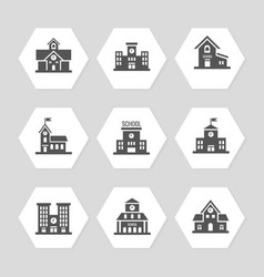 School buildings flat icons collection vector