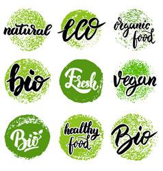 Set of hand drawn emblems eco food organic food vector