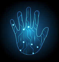 Technology cyber security hand palm circuit vector