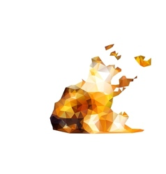 Geometric polygonal burning truck vector image