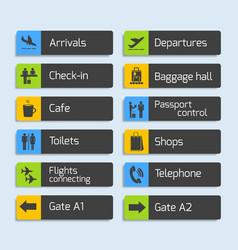 Airport Navigation Design Signboards Set vector image