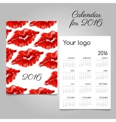 Bright calendar with image lip of red lipstick vector