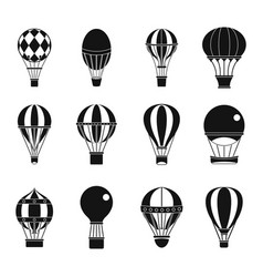air ballon icon set simple style vector image