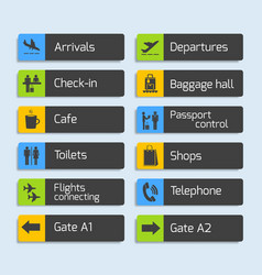 Airport Navigation Design Signboards Set vector image